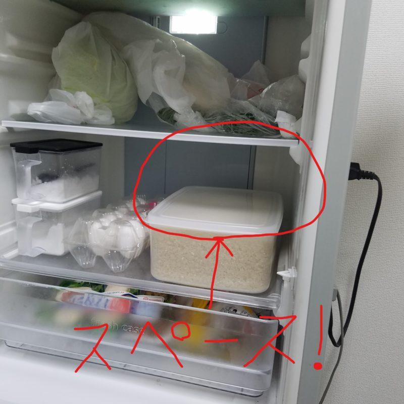 冷蔵庫の中にできたスペース