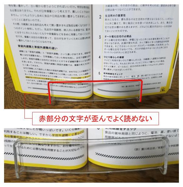 透明ブックスタンドの文字が読めない部分